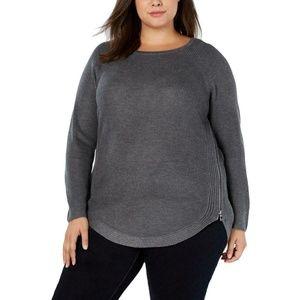 INC Womens Waffle Knit Side Zip Tunic Sweater